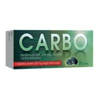 Carbo medicinalis MF 250 mg, 20 tabletek